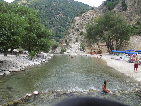 The river Allaro close to the waterfalls is shallow and ideal for kids