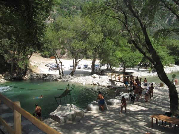 The footbridge close to the waterfalls