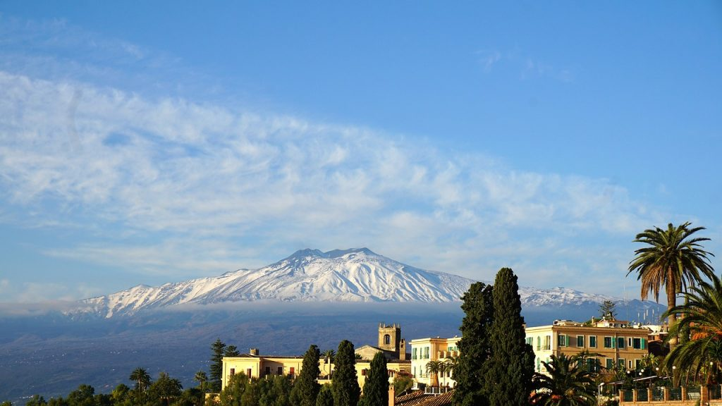 Taormina facing Mount Etna