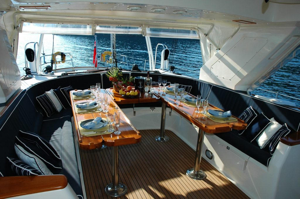 Relaxing onboard a yacht