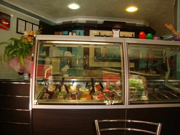 A ice cream display in a cafe