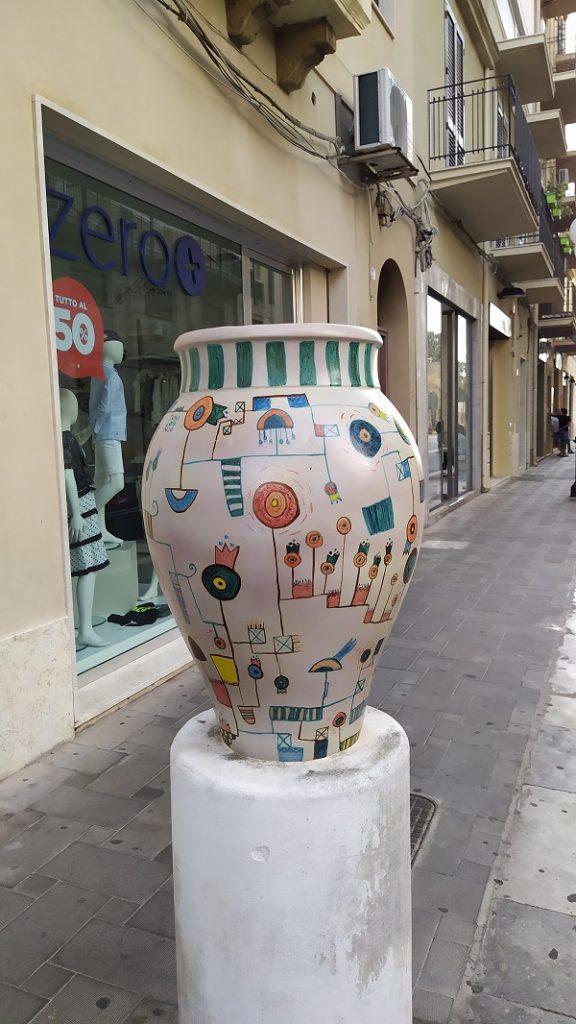 A beautiful ceramic vase in a street in Mazara del Vallo.