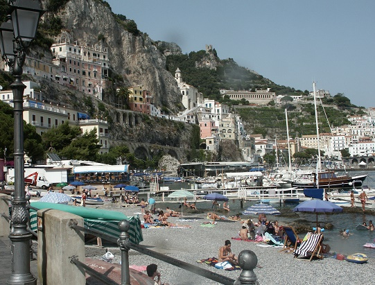 The town of Amalfi from the beach