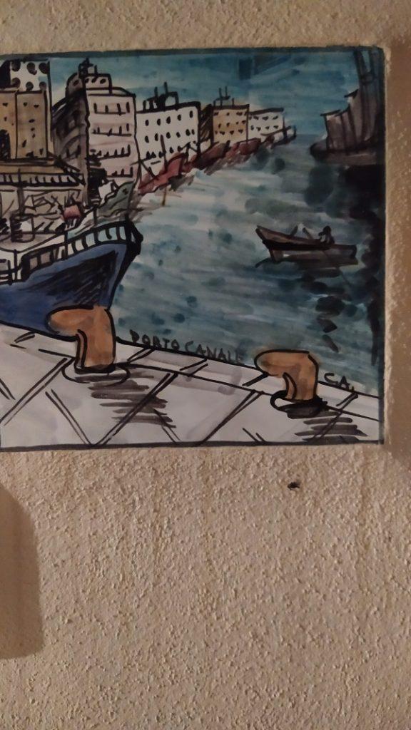 A ceramic panel of the port of Mazara del Vallo