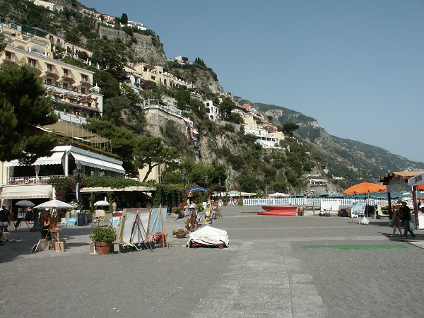 The seafront in Positano