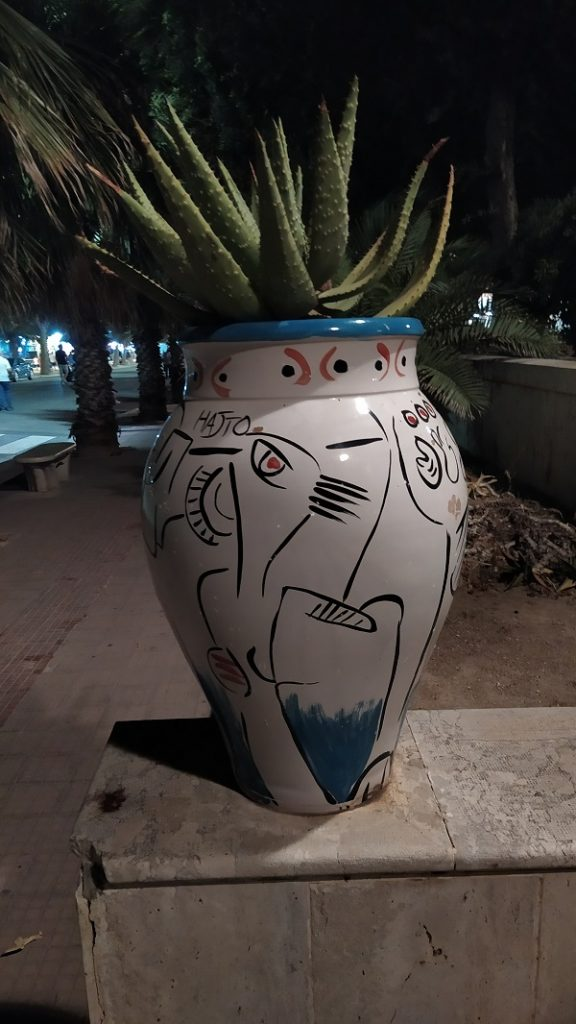 Pottery for plants in Mazara del Vallo with typical vegetation of the area