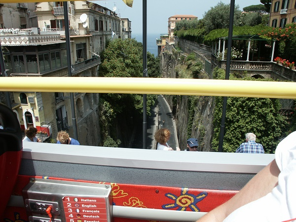 The red hop on and off bus in Sorrento