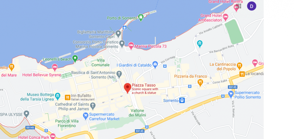 A map for the walk around Sorrento