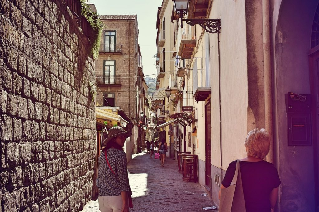 The historic centre of Sorrento where you can walk around the back streets.