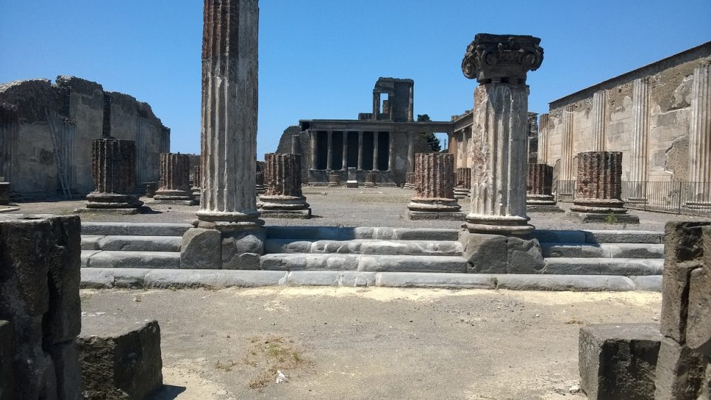 Pompei surrounded by a volcano