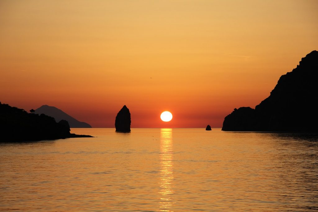 The sunsets in the Aeolian islands